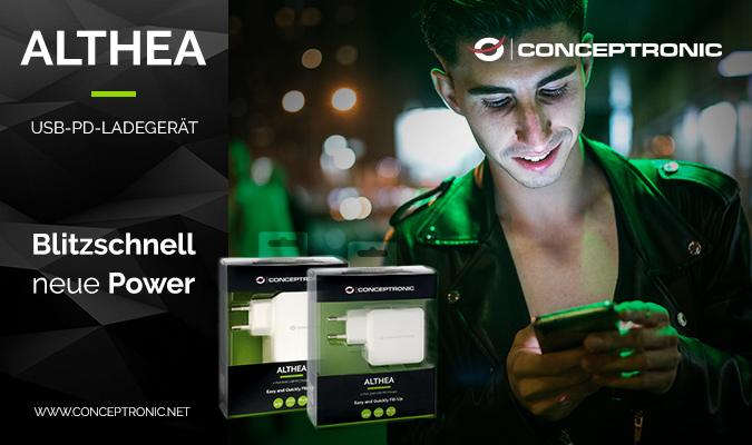 Neu: ALTHEA01 - Blitzschnell neue Power, ein Ladegerät für alle - von Conceptronic