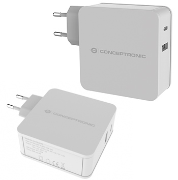 Conceptronic ALTHEA02W  2-Port-60-W-USB-PD-Ladegerät, weiß